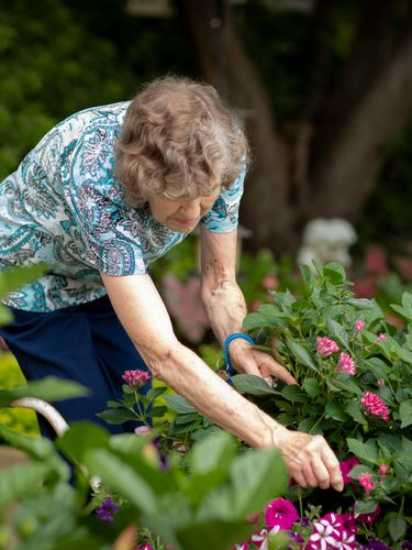 A gardening resident