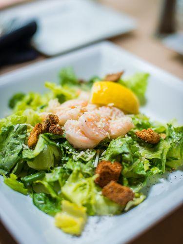 A plated shrimp salad